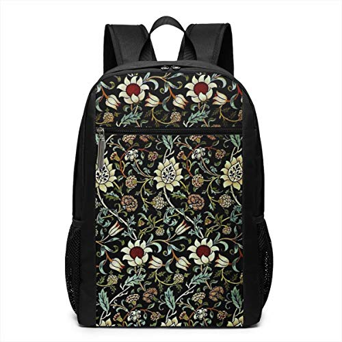 (William Morris Laptop Backpack for 15.6 Inch, School Computer Backpack Lightweight Waterproof Casual Daypack for Travel/Business/College/Men/Women Business Durable Laptops and Notebook Bag)
