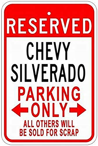Price comparison product image SUPVIVI Metal Signs Chevy Silverado Tin Parking Sign - 8 x 12 Inches