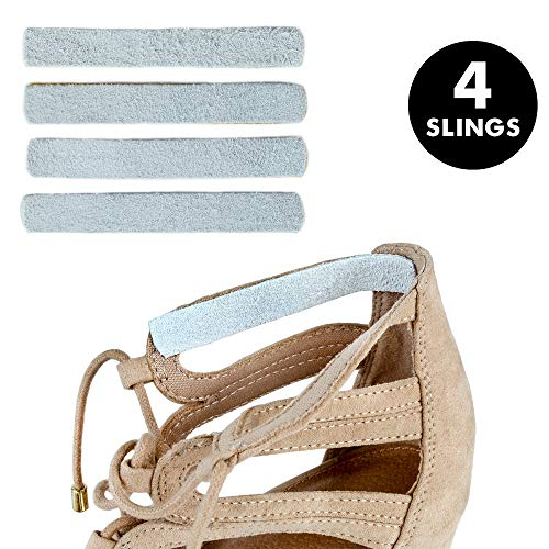 - Heel Lovers Suede Leather Adhesive Slings (4 Slings)- Strap Cushion Grips for High Heels, Wedges, and Ankle Strap Shoes