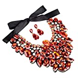3 Colors Costume Statement Necklace for Women Jewelry Fashion Necklace 1 Set with Gift Box (Red)