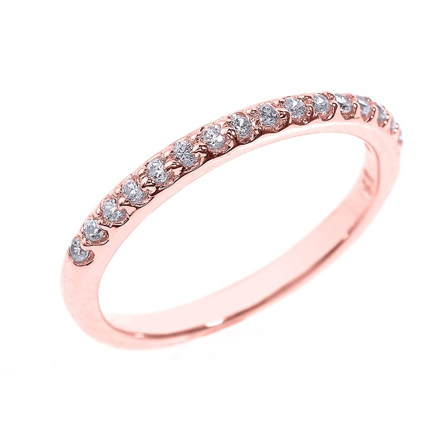 Solid 14k Rose Gold CZ Stackable Wedding Band