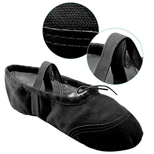 Panegy - Bailarinas Ballet Zapatillas Suela de Piel Punta Reforzada Zapatos de Danza Baile Gimnasia para Niña - EU 30 Rojo Negro
