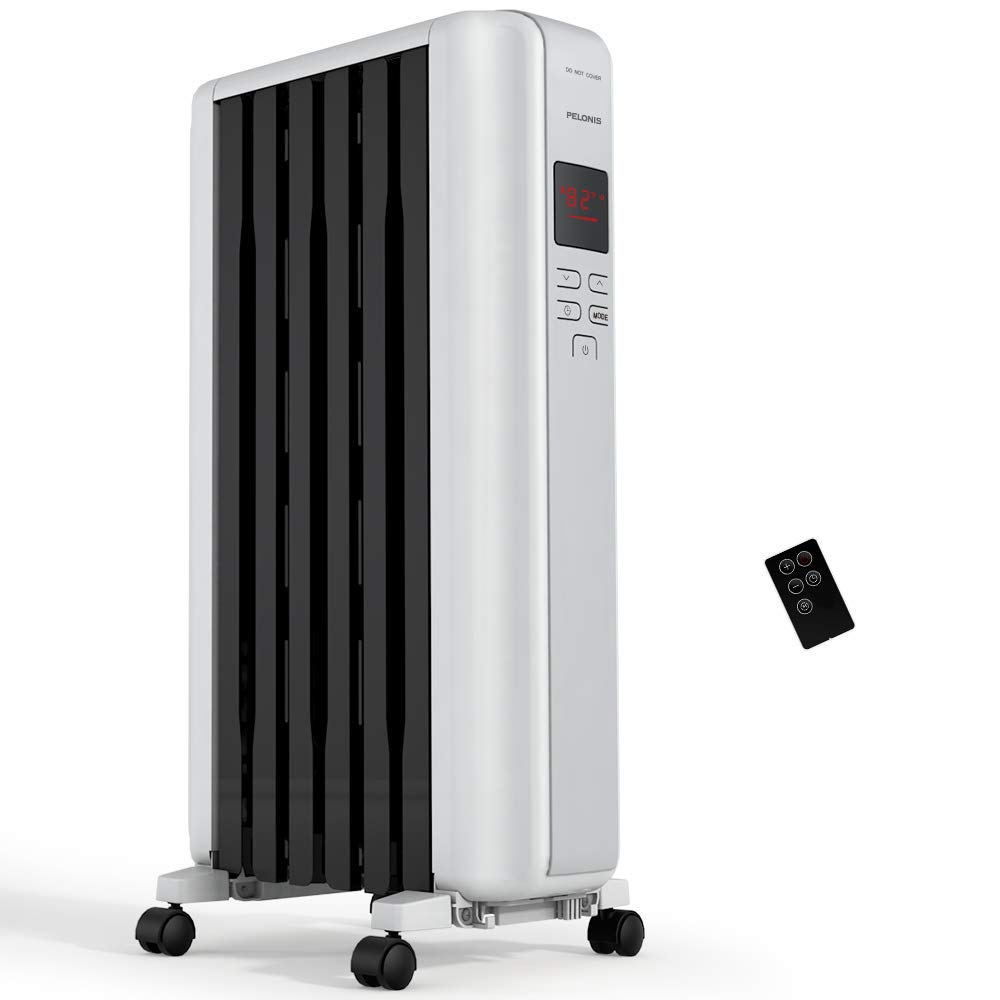 PELONIS Space Heater in Steel Cover, Portable Oil Heater with Thermostat, 24Hr Auto On/Off Timer, Remote, Oil Filled Radiator Full Room Heater with Tip Over & Overheat Protection for Indoor Use by PELONIS