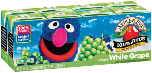 Apple & Eve Juice, Grover's White Grape, 4.23 Ounce, 8 Boxes (Pack of 5)