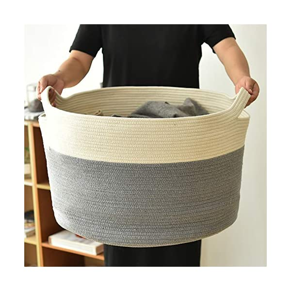 XXXLarge Cotton Rope Basket 22″ x 14″ Baby Laundry Basket for Blankets Toys Blanket Storage Basket Decorative Floor Basket Cushions Storage Bins Thread Laundry Hamper with Short Handle (Two Color)