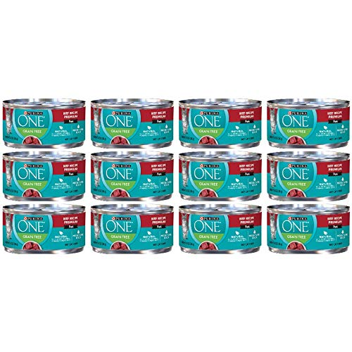 12 Cans of Purina ONE Beef Recipe Pate Grain-Free Canned Cat Food 3 oz ea