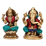 Pair of Lakshmi Ganesh Statue - Hindu Goddess God Laxmi Ganesha - Gorgeous Brass Statue with Inlay work - Religious Gift India