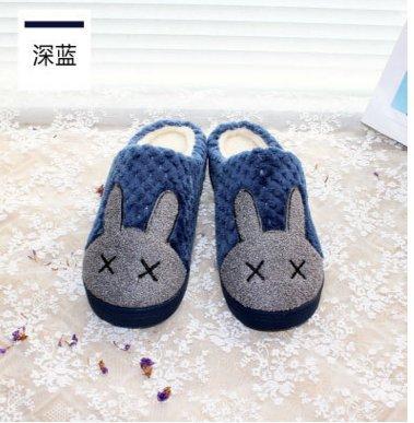 Fankou Femelle Mâle Trimestre Hiver Chaussures Pantoufles De Coton Emballer Avec Des Couples Thermiques Maison Intérieure Anti-dérapant Chaussures, Épaisseur 42-43, Et Bleu Foncé