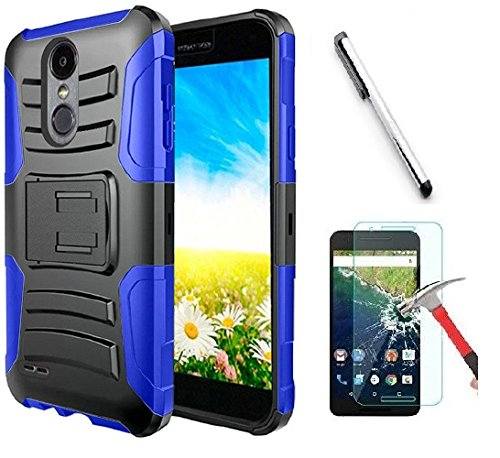 Luckiefind Case Compatible with LG Q7 / LG Q7+ Plus, Dual Layer Hybrid Side Kickstand Cover Case with Holster Clip Accessory (Holster Blue)