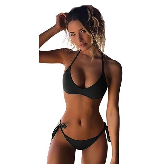 dd21db4a44 Amazon.com  Highpot Womens Bikini Set Swimwear Brazilian Padded Top Solid  Triangle Swimsuit  Clothing