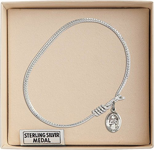 St. Agatha Charm On A 6 1/4 Inch Oval Eye Hook Bangle Bracelet