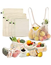 LIVEHITOP Reusable Bags for Fruit and Vegetables – Cotton Mesh Produce Shopping Bag Set Organic Eco Friendly Washable (XL,L,M,S, Grocery Tote, Storage Pouch)