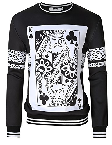MrWonder Men's Casual 3D Digital Pullover Sweatshirt Long Sleeve Playing Cards Poker Printing Sweatshirts Black XL (Amazon Sold Clothing Mens By)