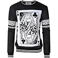 MrWonder Men's Casual 3D Digital Pullover Sweatshirt Long Sleeve Playing Cards Poker Printing Sweatshirts