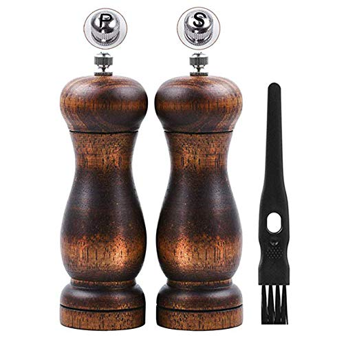 - Salt and Pepper Grinder Set, Manual Pepper Mill Wood with Ceramic Grinding Core, Adjustable Coarse and Fine Suitable for Picnic, Dinner, Parties, Restaurant, BBQ and Hotel-(Pack of 2)
