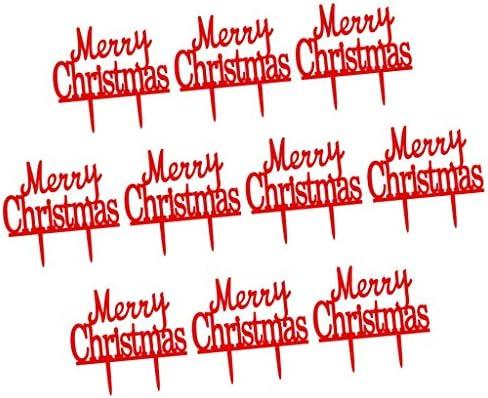 F Fityle 10xアクリルメリークリスマスレターケーキトッパーパーティークリスマスデコレーション