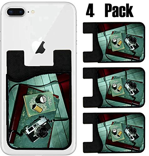 MSD Phone Card holder, sleeve/wallet for iPhone Samsung Android and all smartphones with removable microfiber screen cleaner Silicone card Caddy(4 Pack) Vintage camera with old photo album Still (Photo Clutch Album)