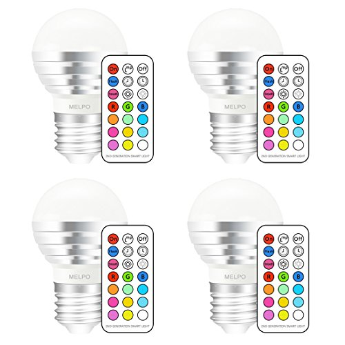 MELPO Dimmable E26 RGBW LED Color Changing Light Bulb with Remote Control, 3W, for Birthday Party / KTV Decoration / Home Use / Bar / Wedding (Pack of 4)