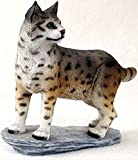 """Custom & Unique {5"""" Inch} 1 Single, Home & Garden """"Standing"""" Figurine Decoration Made of Resin w/ North American Wild Bobcat Realistic Style {Grey & Black Color}"""