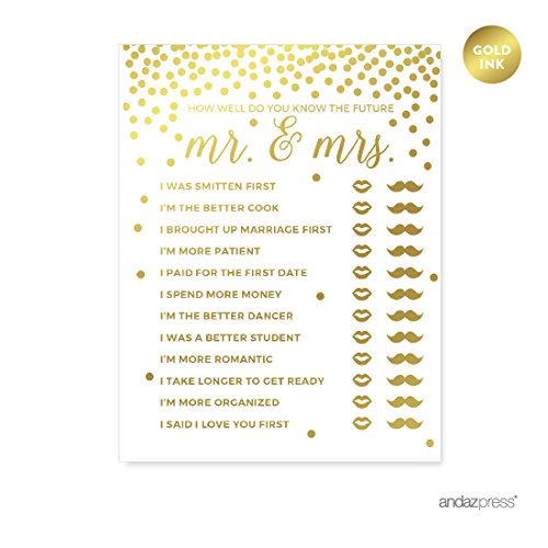Andaz Press Metallic Gold Confetti Polka Dots Party Collection, Bridal Shower How Well Do You Know the Future Mr. & Mrs. He Said She Said Game Cards, 20-Pack