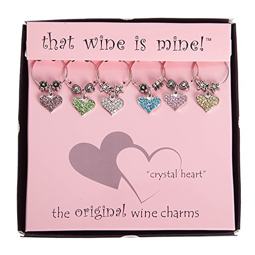 Wine Things 6-Piece Crystal Heart Wine Charms (Glass Heart Charms)