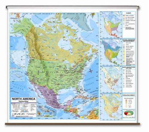 North America Advanced Political Classroom Map on Roller w/ Brackets