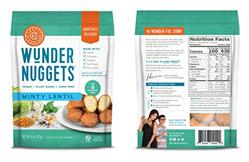 Wundernuggets - Vegan Minty Lentil with Lentils, Veggies and Chia Seeds - Pack of 6 Bags (14-16 wundernuggets in each bag) - Free of All Top 8 Allergens by Wundernuggets