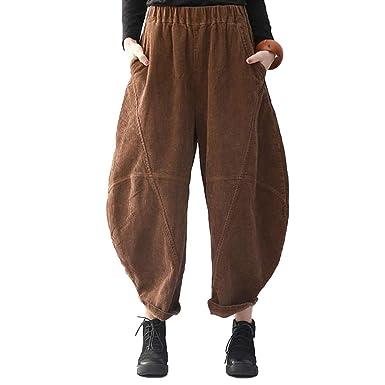 a20ffbf9a9ca8 BUYKUD Women Corduroy Harem Trousers Loose Retro Plus Size Corduroy Harem  Pants  Amazon.co.uk  Clothing