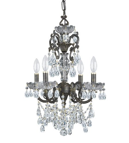 (Mini Chandeliers 4 Light with English Bronze Clear Swarovski Strass Crystal Wrought Iron 15 inch 240 Watts - World of Lighting )