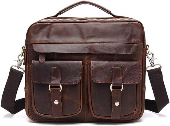 ZhiGe Briefcase,Top Layer Leather Retro Fashion Male Business Casual Handbag Shoulder Bag Briefcase