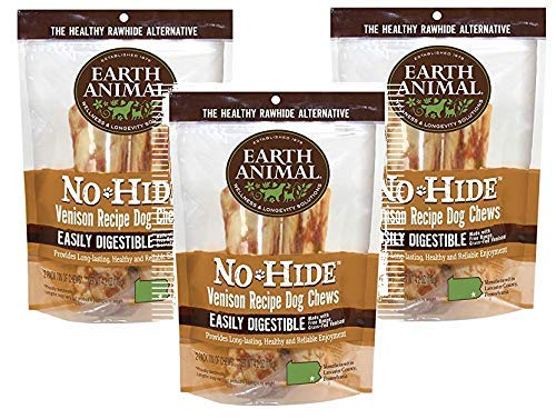 Earth Animal No Hide Rawhide Venison Dog Chews, Dog Treats 7 Inch, 3 Packs 2 Treats Per Pack Totals 6 Chews . The Safe Alternative to Rawhide