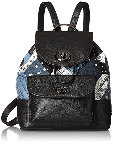 - COACH Womens Canyon Quilt Denim Mini Rucksack DK/Denim Skull Print Backpack