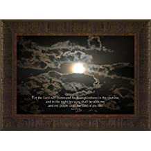 Song and Prayer By Todd Thunstedt 17.5x23.5 Psalms 42:8 Moon Moonscape Lunar Solar Eclipse Beach Palm Trees Ocean Sea Night Clouds Nautical Heavens Midnight Twilight Dusk Nightfall Sundown Religious Israel Lutheran Catholic Evangelical Mormon Church Jew Jewish Synagogue Baptist Bible Verse Quote Saying Jesus Disciples Matthew Mark Luke Timothy Isaiah Genesis Revelations Testament Old New Easter Framed Art Print Wall Décor Picture