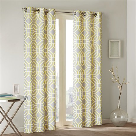 Maci Window Curtain Pair (set of 2) – Energy Efficient – Microfiber – Grommet - Yellow Grey