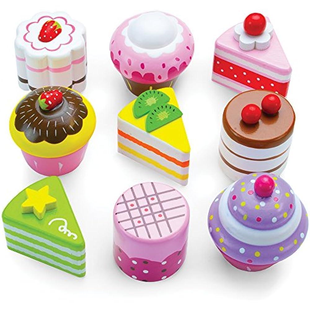 Details About Play Food Imagination Generation Cupcake Mini Cake Petit Four Set 9pcs Wood