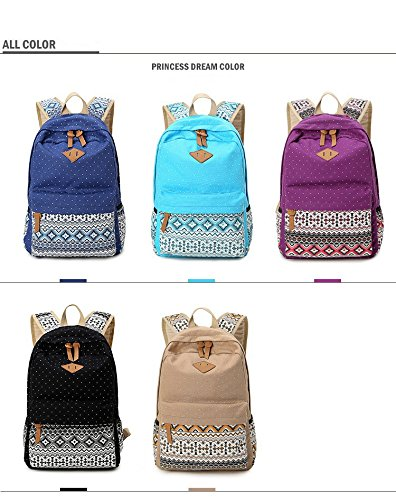 Travel Lady Multifunctional Rucksack Daypacks Style Backpack Canvas Minetom Ethnic Casual Grey Women Bag School xUqwT88ARW