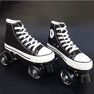LBX Canvas Adult Double Row Skates Roller Skates Adult Men and Women Double Row Roller Skates Four Wheel Flash