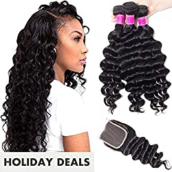 RECOOL Brazilian Hair Loose Deep Wave Bundles with Closure 10A Unprocessed Virgin Human Hair Ocean Wave Natural Color Real Good Quality Hair(18 20 22+16)
