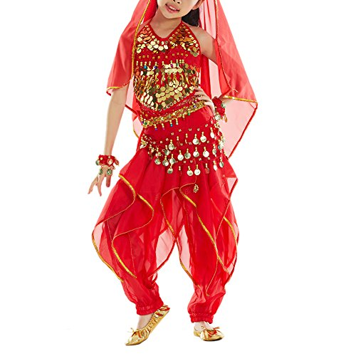 BellyLady Kid Belly Dance Costume, Harem Pants & Halter Top For Halloween-Red-L -