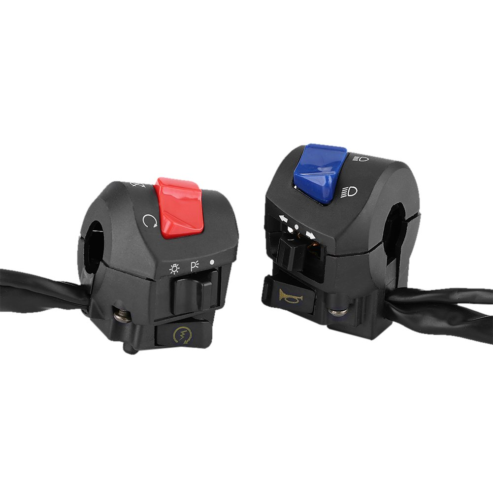 Qiilu Motorcycle 7/8inch Left and Right Handlebar Mount Switch with Horn and Ignition Control Pack of 2