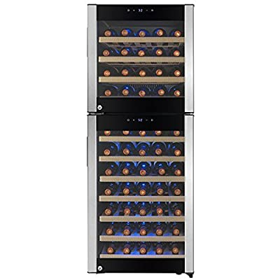 FIREBIRD 73 Bottles Dual Zone Stainless Steel Door Built-in Compressor Freestanding Electric Wine Cooler Chiller Refrigerator w/ Touch Control