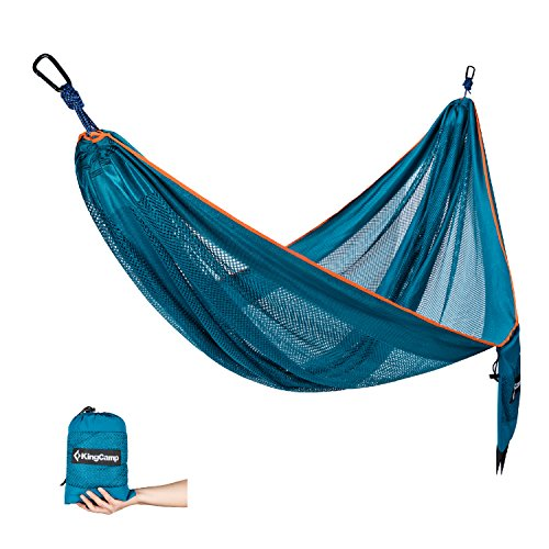 KingCamp Outdoor Camping Hammock, Parachute Double Lightweight Hammock with Tree Hanging Straps Rope, ideal for Backpacking, Camping, Travel, Beach, - Small Hammock