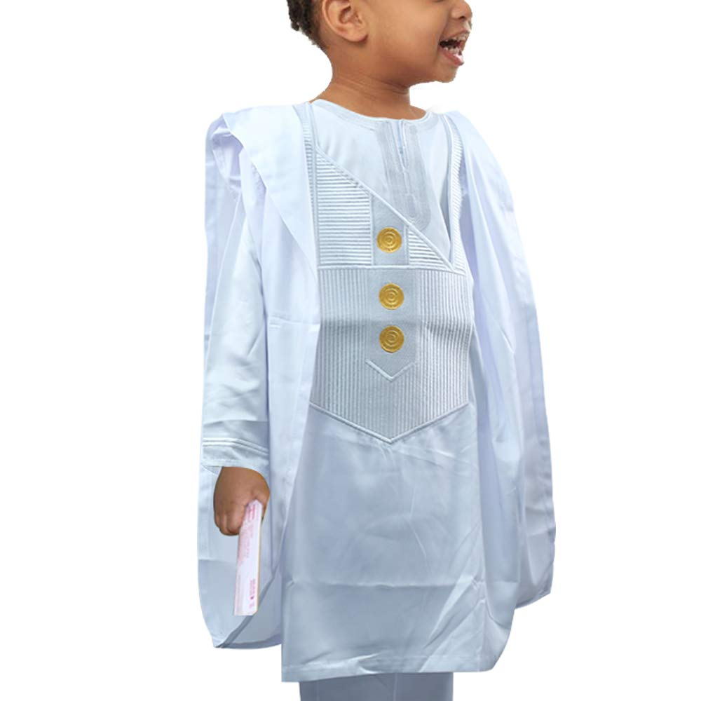 HD Kids African Clothing Embroidery Agbada Top Dashiki Shirt and Pants Set 3 Pieces for Boy,White L