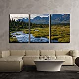 alaska painting - wall26 - 3 Piece Canvas Wall Art - River in Tundra on Alaska - Modern Home Decor Stretched and Framed Ready to Hang - 24