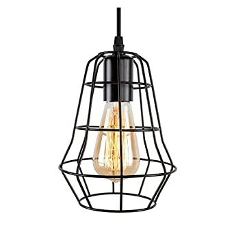 Sprsk Lámpara colgante de jaula de alambre, lámpara de techo ...
