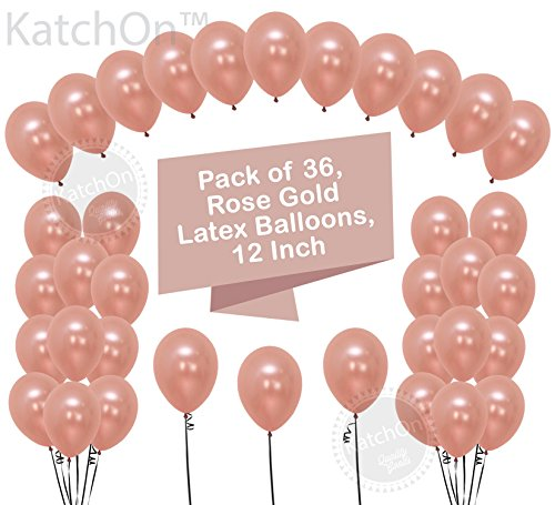Rose Gold Balloons Party Decorations - Pack of 36, Great Rose Gold Birthday Decorations for Party, Rose Gold Party Supplies for Engagement, Weddings, Proms, Rose Gold Baby Shower Decorations