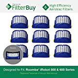 6 - iRobot Roomba 500 Series AeroVac Replacement Bin Filters. Designed by FilterBuy to fit ALL iRobot Roomba 500 Series Vacuums