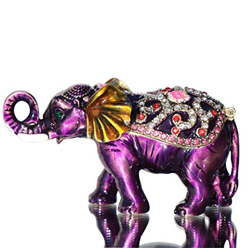 Crystal Elephant Trinket Box - Waltz&F Purple Elephant Hinged Trinket Box Bejeweled Hand-Painted Ring Holder Animal Figurine Collectible