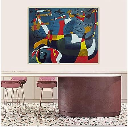 """WSTDSM Lienzo Pintura Al Óleo Joan Miro Swallow Love, 1933"""" Póster Estético Telón De Fondo Pared Decoración Interior De La Habitación del Hogar-24X36 Pulgadas X1 Sin Marco"""