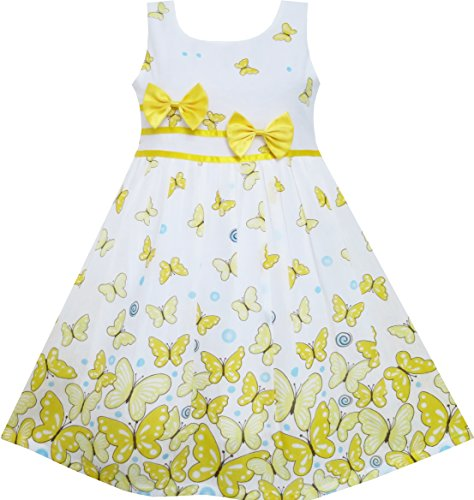 Sunny Fashion EY51 Little Girls' Dress Yellow Double Bow Tie Summer 4-5 (Dollars 5 Under Dress)